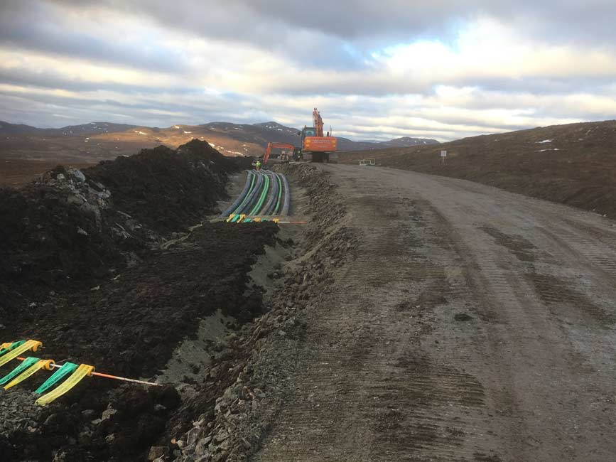 Ducting on 32 turbine SSE Bhlaraidh Windfarm Invermoriston for RJ McLeod